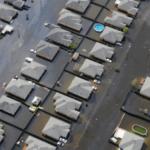 Aerial photo of a flooded neighbourhood